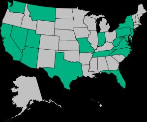 CA, WA, NV, AZ, UT, MT, TX, MO, IN, TN, FL, NC, VA, DC, WV, MD, NJ, NY, PA